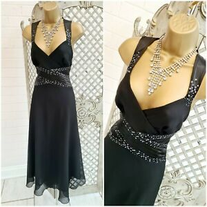 NEXT  UK 14 New Black Floaty Beaded Fit & Flare Midi Evening Dress ~Free P&P ~