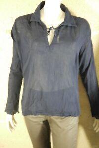 TERRE-DE-MARINS-Taille-48-GRANDE-TAILLE-tres-jolie-blouse-manches-longues-bleue