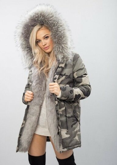 Grey Faux Fur Hooded Padded Parka Camo