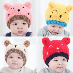 Baby Kind Mädchen Jungen Hut Mütze Häkeln Wolle Gestrickt Pompon