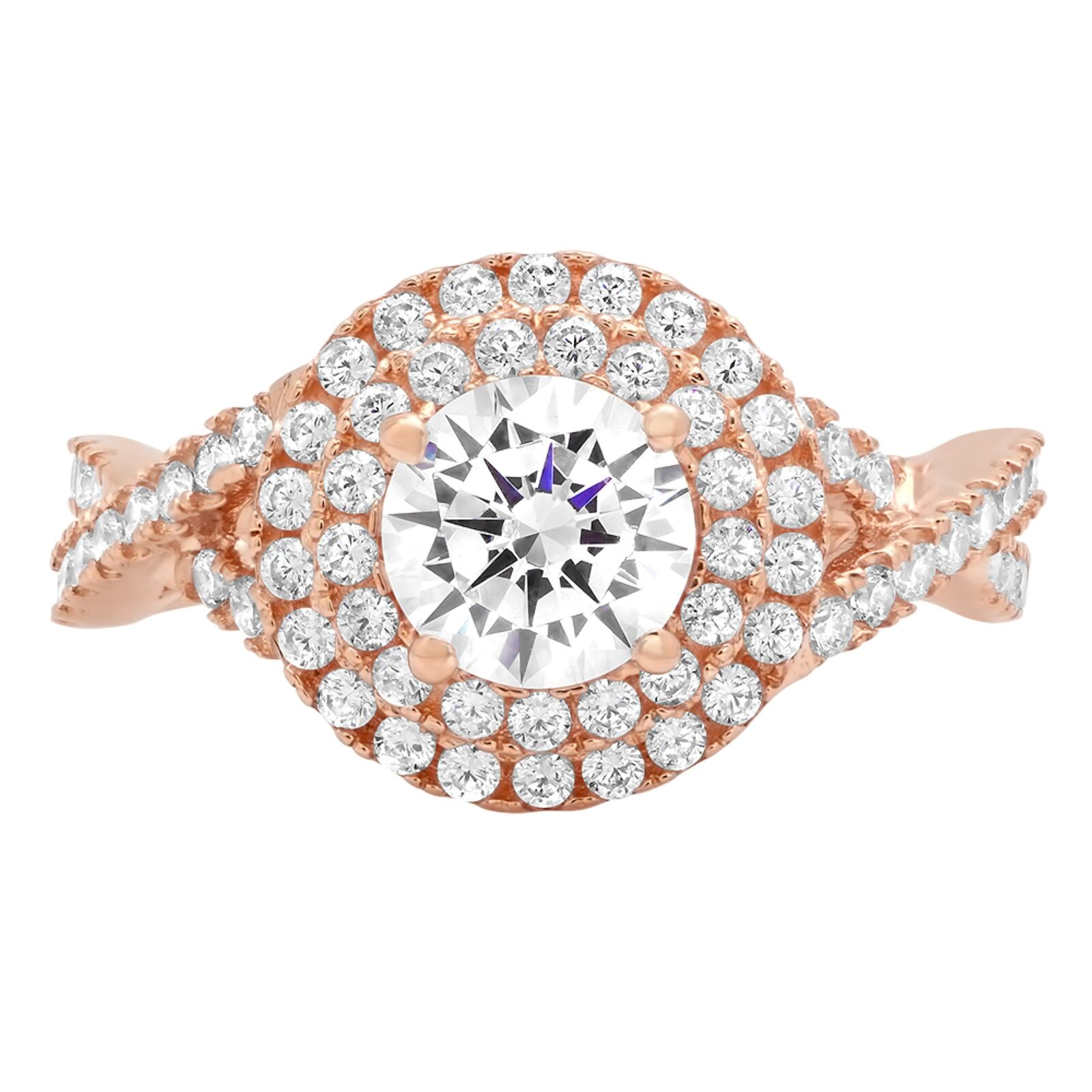 1.6ct Round Cut Solitaire Halo Promise Bridal Engagement Ring 14k pink gold