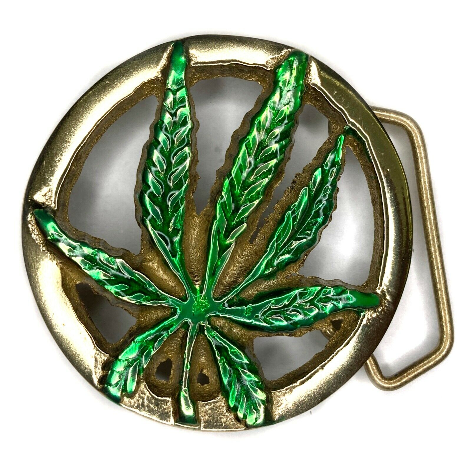 Marijuana/Cannabis Leaf Buckle and Belt, Brass, Smoking Plant Relax, Weed, Gift