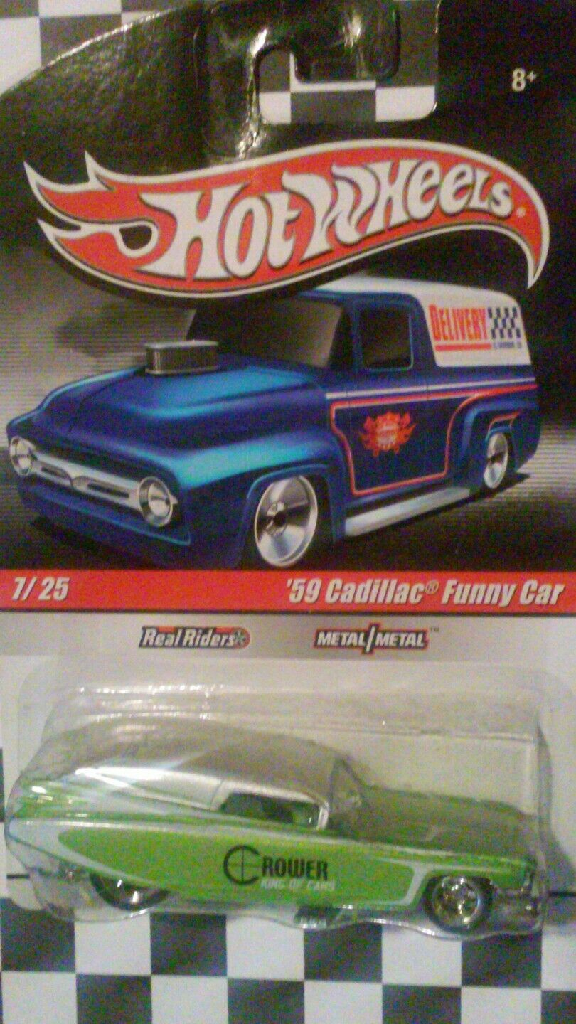 HOT WHEELS '59 CADILLAC FUNNY CAR REAL RIDERS METAL METAL