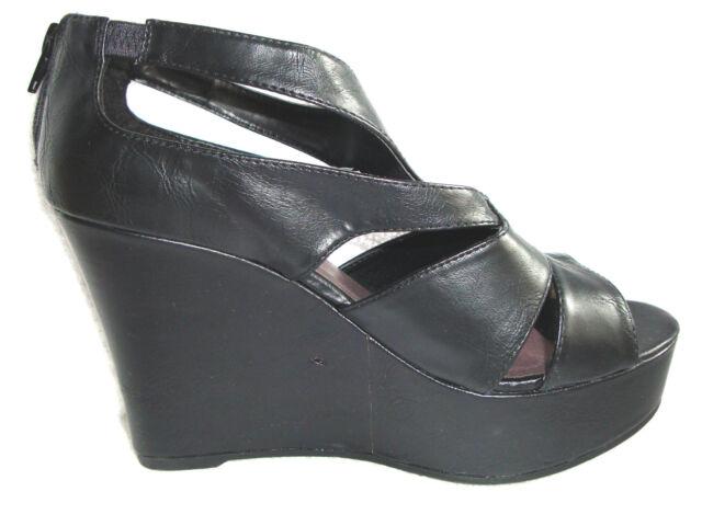 e626c034123 Madden Girl KLEYO Solid Black Platform Wedge Sandals w Back Zip 9 M ...