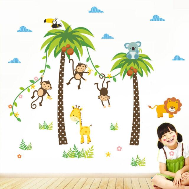 Animals Wall Sticker Kids Room Children Bedroom Giraffe Lion Monkey Tree b