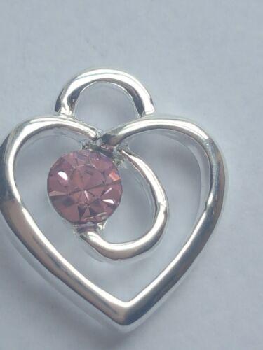 10 X Chapado en Plata Rosa Colgante de corazón Rhinestone encantos