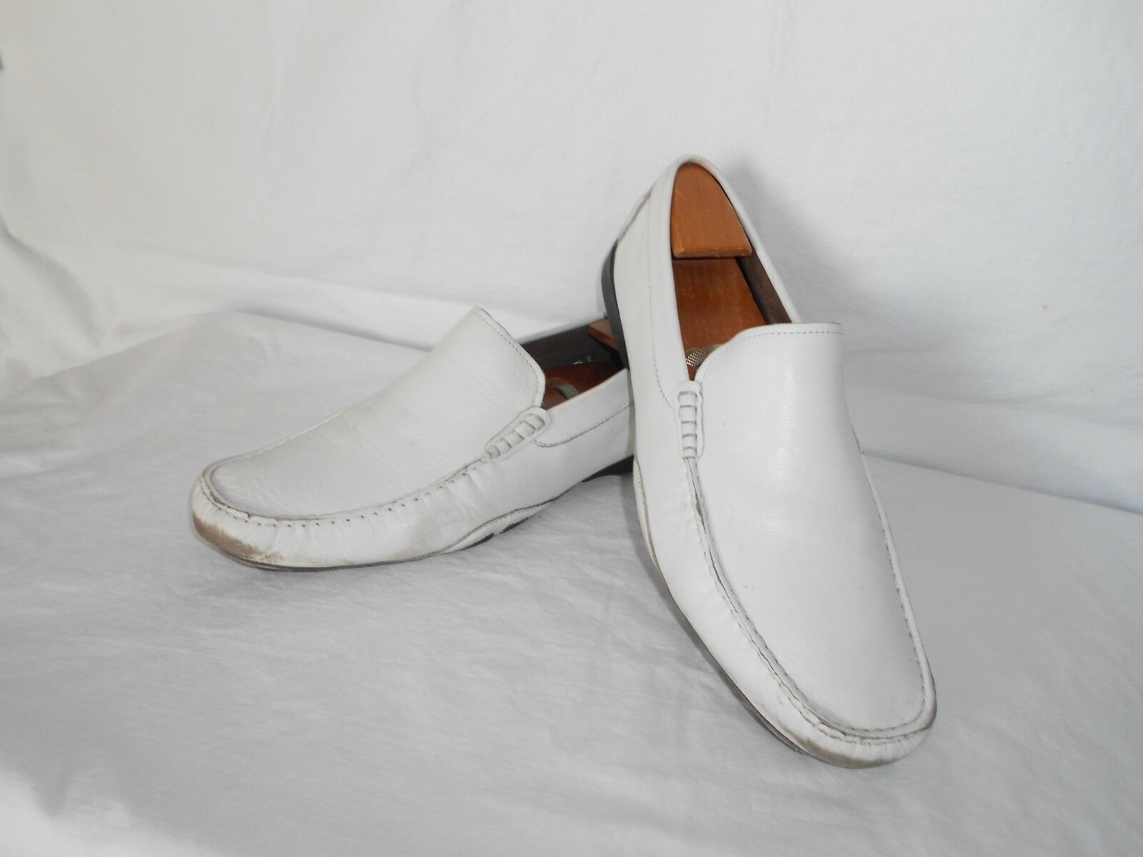Men's Kenneth Cole Drive Home White Leather Casual Drivers Loafers Size 9.5 D