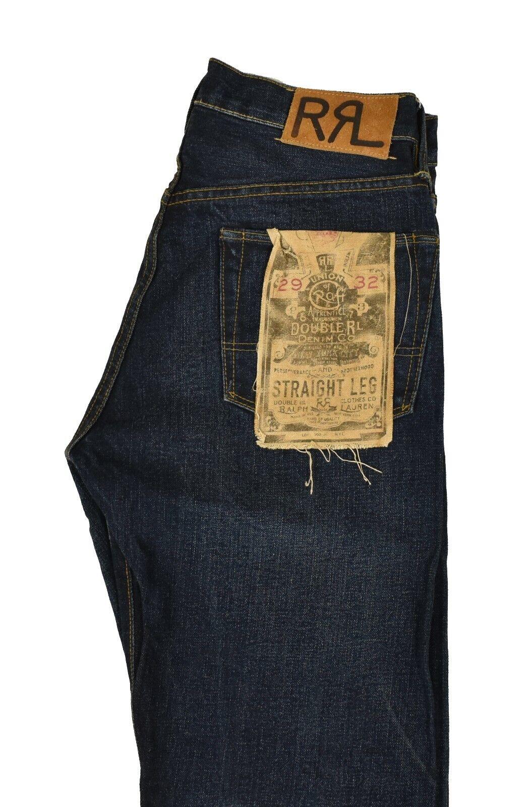 Ralph Lauren Rrl Gerades Bein Kanten Jeans 29 X 32 Neu