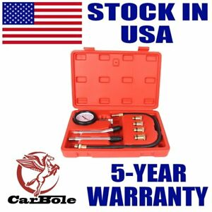 CarBole 0-140 PSI 8 Pieces Engine Compression Gauge Set Kit Cylinder Dianostic Tester with Case Automotive Tool Set