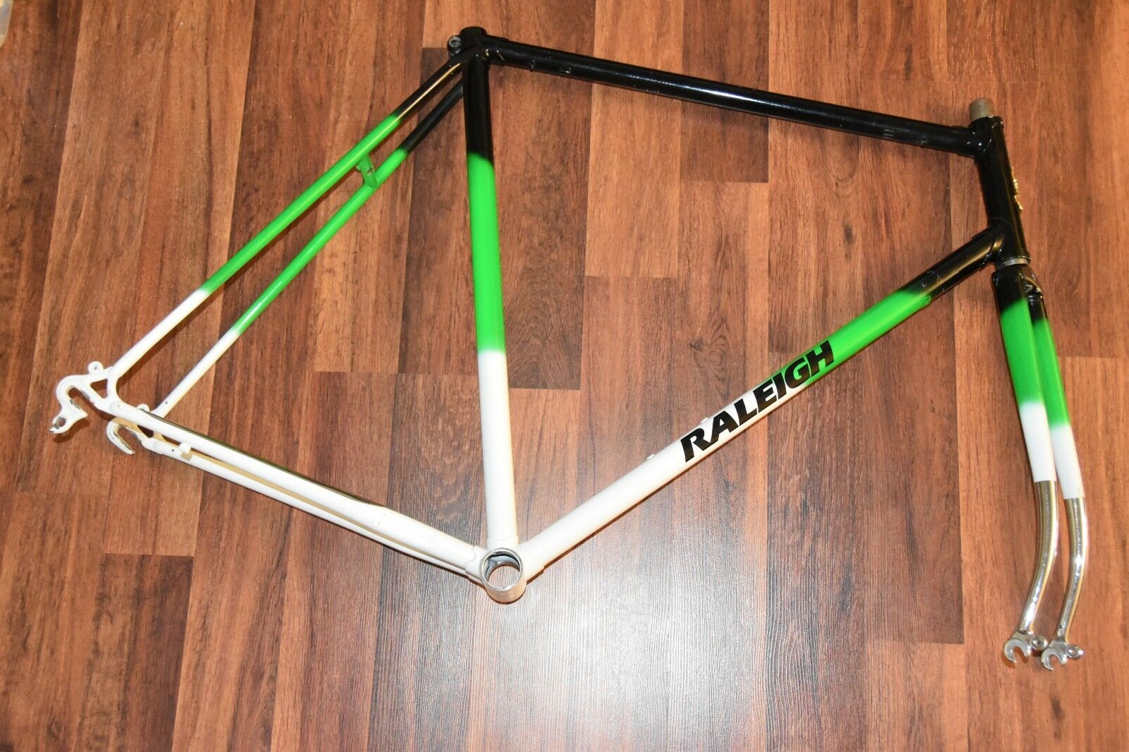 Vintage The Raleigh Bike Frame & Fork bicycle Grün Weiß schwarz N1B0453