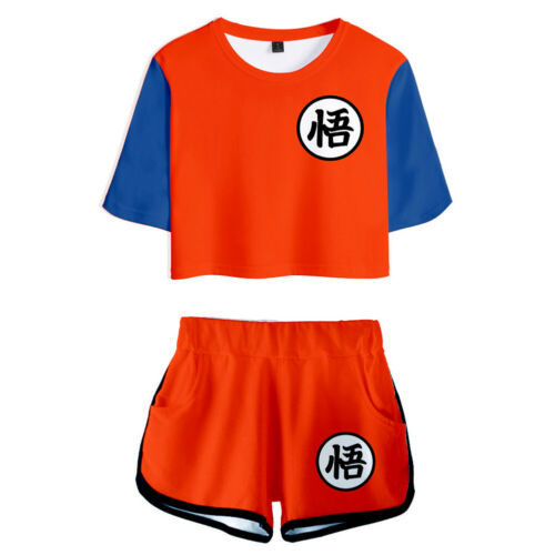Anime Dragon Ball Print Unisex Tracksuits Two Piece Set Crop Top Shorts Suit