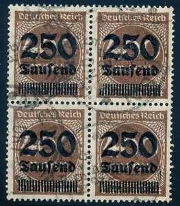 D-Reich-Nr-294-gestempelt-VIERERBLOCK-geprueft-Infla-57565