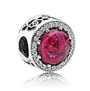 S925-sterling-silver-Belle-039-s-Radiant-Rose-Clear-CZ-Charm-Fit-European-Bracelet