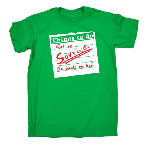 Get Up Survive Go Back To Bed T-SHIRT Lazy Movie Tv Tee Top birthday funny gift