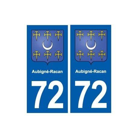 72 Aubigné-Racan blason autocollant plaque stickers ville arrondis