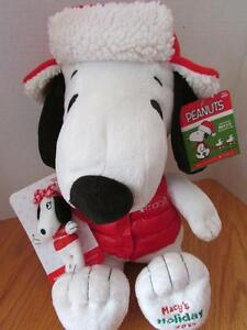 New Exclusive Macys Signature Holiday Christmas Snoopy Plush Toy W