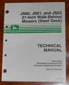 John Deere Js60 Js61 Js63 21 Walk Behind Mower Technical Manual