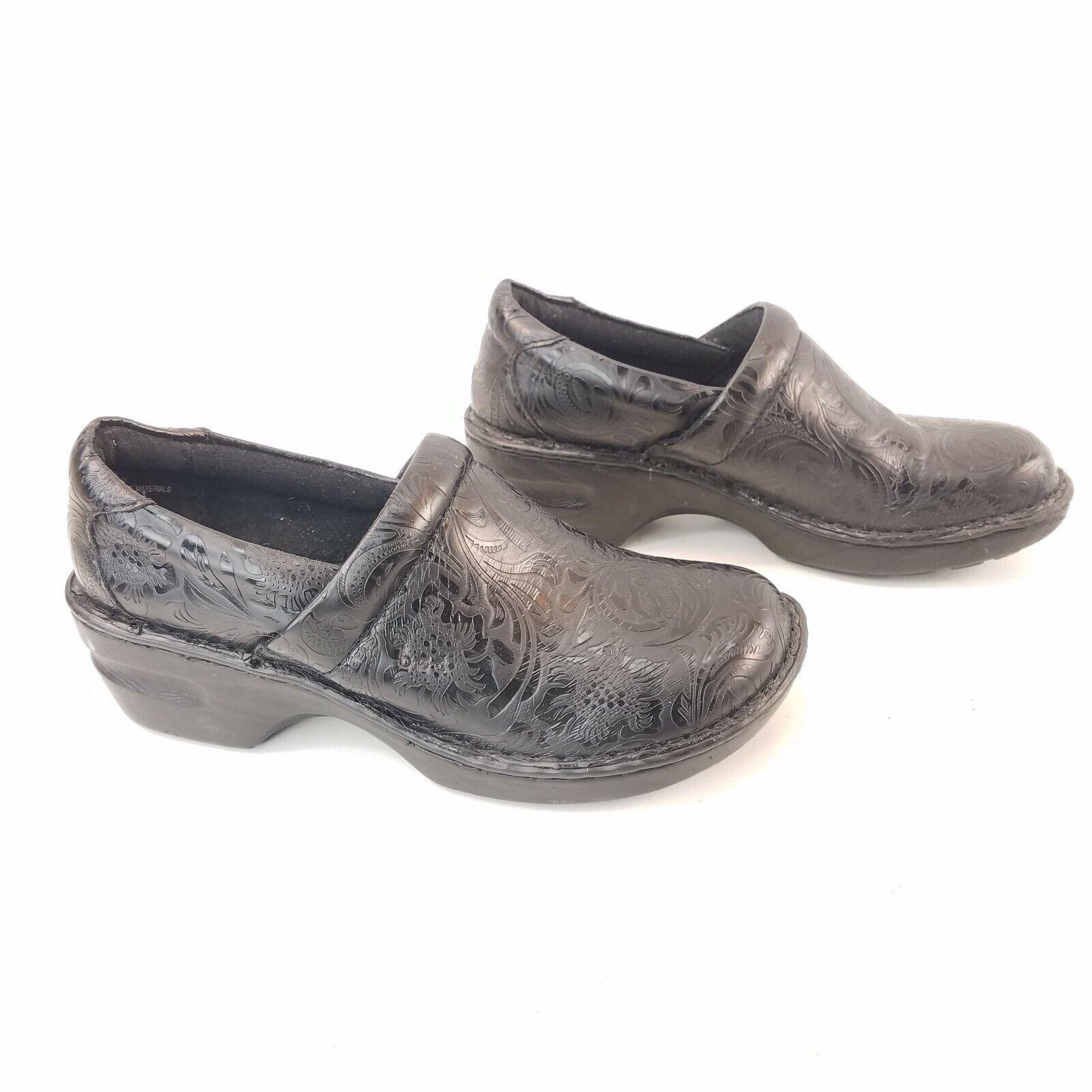 BOC Born Concepts Mule Shoes Size 8.5 Slip On Clogs Black Floral Print Leather