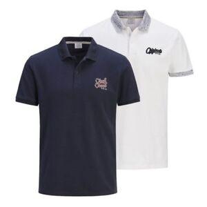 Mens-Polo-T-Shirt-JACK-amp-JONES-Authentic-Cotton-Pique-Collared-Top