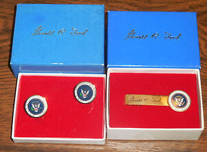 Rare-Official-Ford-set-of-Presidential-Cufflinks-and-Tie-Bar