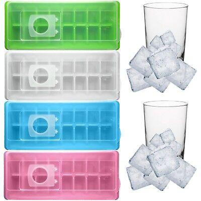 2 Stück 2er Set Eiswürfelbereiter aus Kunststoff mit Deckel in blau