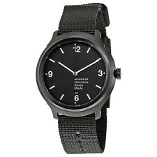 Mondaine Helvetica No1 Bold Black Dial Black Nylon Mens Watch MH1.B1221.NB