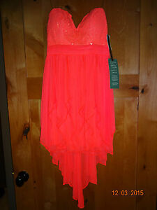 New/NWT Juniors Dress Neon Coral My Michelle sz 5 Prom