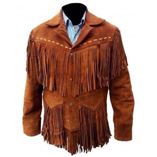 Hombres Nativo Marrón Cuero de Gamuza Capa Vendimia el Cowboy Flecos Chaqueta