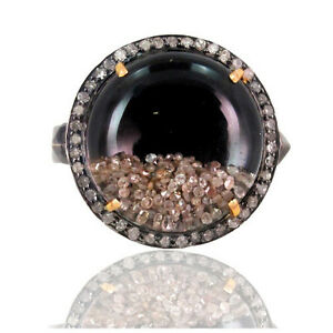 14k-Gold-Genuine-Gemstone-Diamond-Pave-Shaker-Ring-925-Sterling-Silver-Jewelry