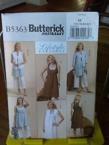 Oop-Lifestyle-Butterick-5363-misses-boho-tunic-vest-dress-pants-sz-16-22-NEW