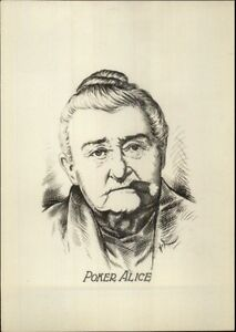 Old-West-Poker-Alice-Smoking-Cigar-Real-Photo-of-Pencil-Sketch-myn-1920s-30s