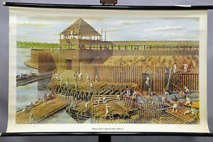 vintage pull-down wall chart medieval market scenery with merchants