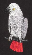 Embroidered Short-Sleeved T-Shirt - African Gray Parrot BT4635
