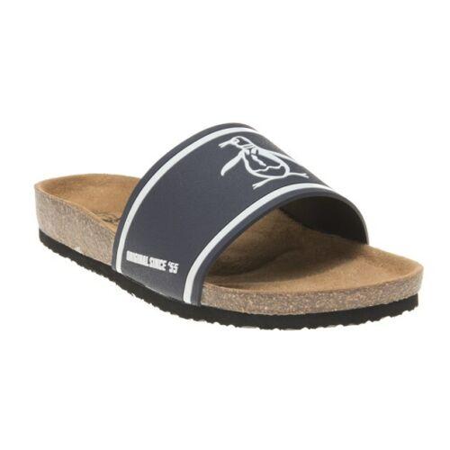 New Mens Penguin Navy Preen Synthetic Sandals Slides Slip On