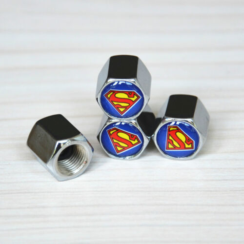 4x Superheroes Superman S Logo Car Wheel Air Dust Covers Cap /& Wrench Key Chain