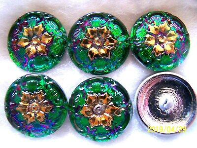 1 33 mm vintage Czech lacy style gilt mirrored tulip floral green glass button