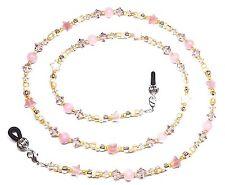 Vintage Rose & Silk Crystal Quartz Star Bead Mix Eyeglass Chain