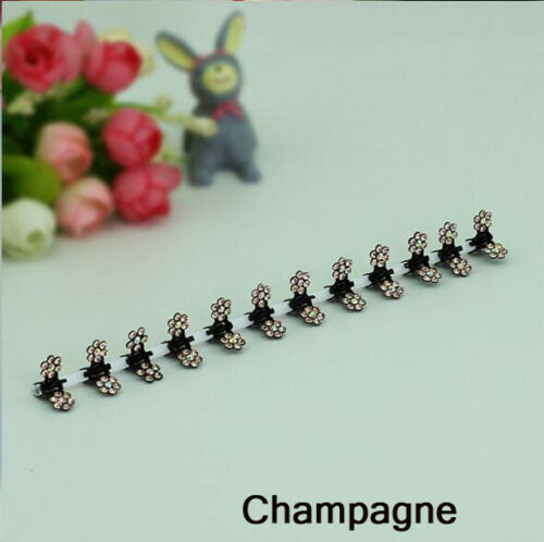 12 PCS Baby Girls Sweet Rhinestone Crystal Flower Mini Hair Claws Clips Clamps