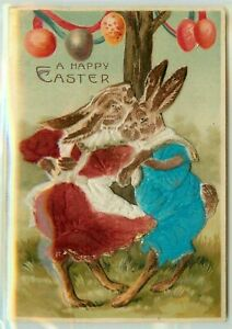 Dressed-Bunny-Rabbits-in-Felt-Outfits-Dancing-Novelty-Easter-Postcard-b636