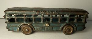 A-C-WILLIAMS-CAST-IRON-BLUE-034-TWIN-COACH-034-BUS-Arcade-Hubley-Dent