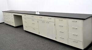 Image Is Loading Used 19 Feet Laboratory Base Cabinets With Desk