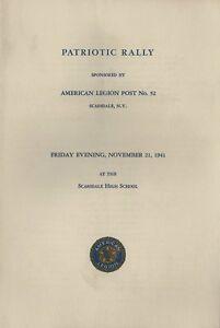 1941 American Legion Patriotic Rally Program - Scarsdale NY