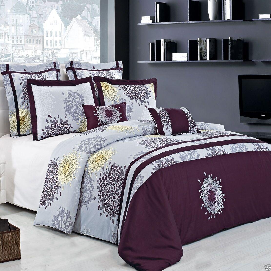 8pc Fifi Cotton Embroidered Duvet Cover Bedding Set AND Comforter - ALL SIZES