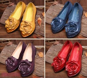 Chic-Women-039-s-Ethnic-Casual-Loafer-Oxfords-Shoes-Flower-Flats-Slip-On-Comfy-Shoes