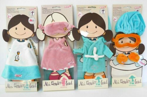 4 x NICI WONDERLAND DOLL OUTFITS clothes bathing robe REVERSIBLE dress nightgown