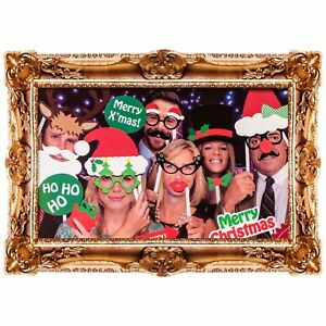 24x-Selfie-Photo-de-famille-accessoires-Moustache-sur-un-baton-Fete-de-Noel