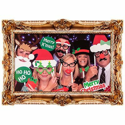 24x Selfie Family Photo Booth Props Moustache on A Stick Christmas Party Fun