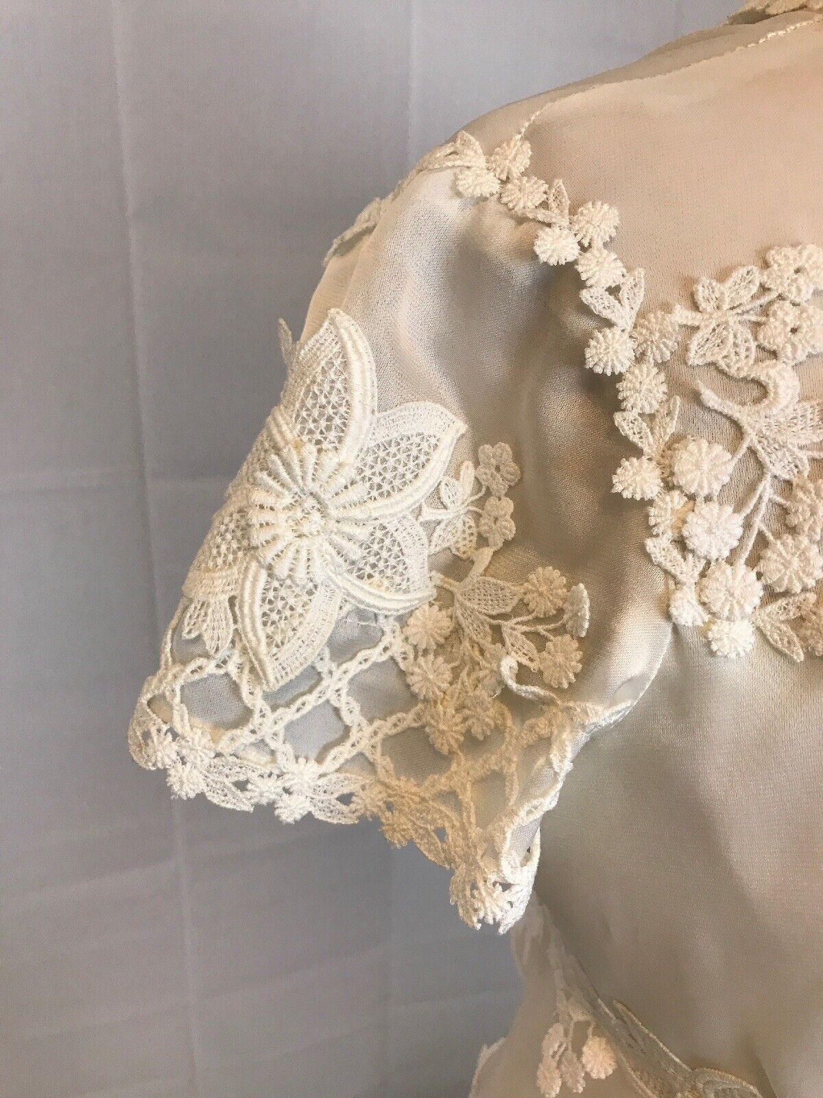 VTG 70s Hippie Boho  Empire Cut Out Daisy Lace We… - image 3