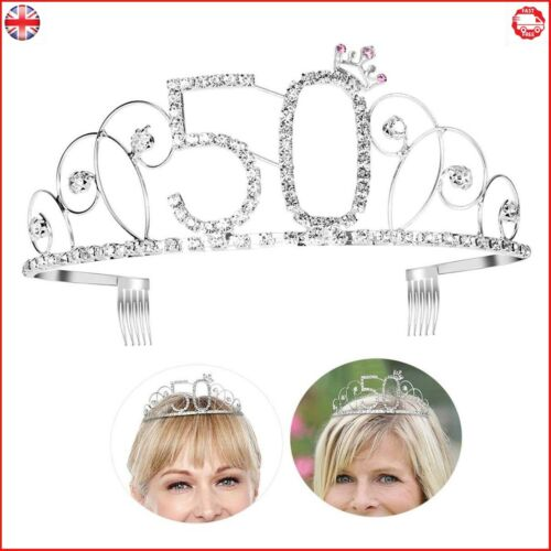 Diadème Happy Birthday Crown 50th Cristal Argent Halloween