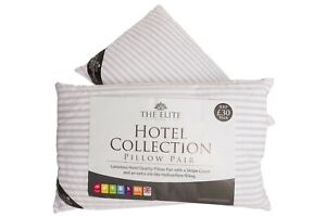 Pack-Of-2-Hotel-Quality-Egyptian-Stripe-Pillows-Luxury-Soft-Hollowfibre-Filled